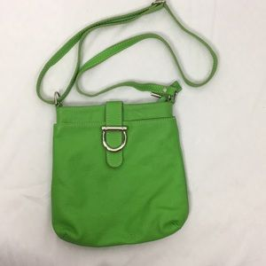 Made In Italy Leather Bright Green Crossbody Bag
